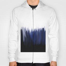 Modern blue cobalt black oil paint brushstrokes abstract Hoody