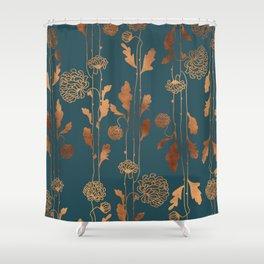 Art Deco Copper Flowers  Shower Curtain