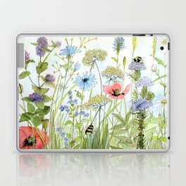 Floral Watercolor Botanical Cottage Garden Flowers Bees Nature Art Laptop & iPad Skin