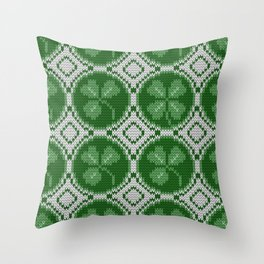 Four leaf clover St Patrick's Day Throw Pillow