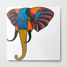 Primary Retro Elephant Metal Print