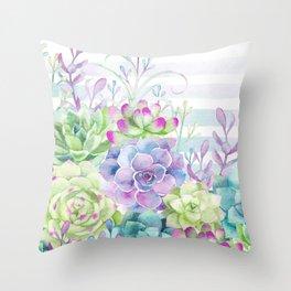 Summer Succulents Throw Pillow