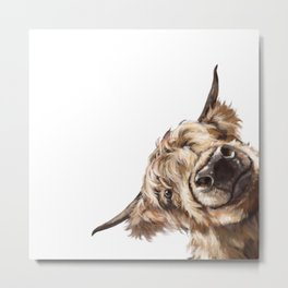 Sneaky Highland Cow Metal Print