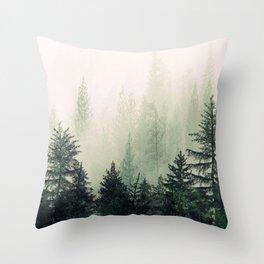 Foggy Pine Trees Throw Pillow