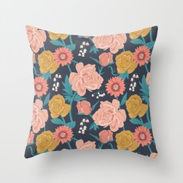 Paint by Numbers Florals on Navy Throw Pillow