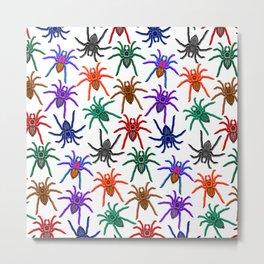 Spiders Colorful Halloween Tarantulas Pattern Metal Print