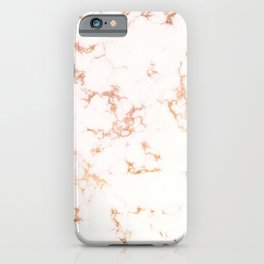 Hints of Rose Gold Veins on Ebony-White Marble iPhone Case
