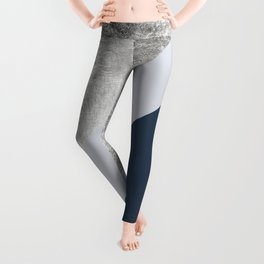 Modern minimalist navy blue grey and silver foil geometric color block Leggings