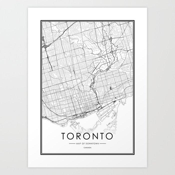 Toronto City Map Canada White and Black Kunstdrucke