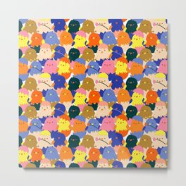 Colored Baby Chickens pattern Metal Print