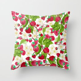 Watercolor red green black white strawberry floral Throw Pillow