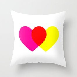 Love hearts (pink & yellow) Throw Pillow