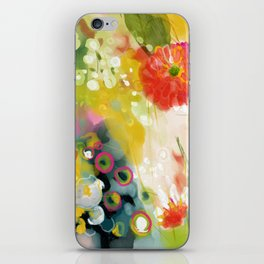abstract floral art in yellow green and rose magenta colors iPhone Skin