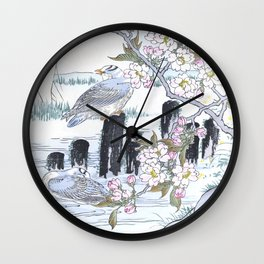 Two Gulls And Blossomed Cherry Tree - Vintage Japanese Woodblock Print Art By Kono Bairei Wall Clock