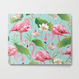 Flamingos Pattern on Aqua Metal Print