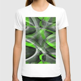 Eighties Vibes Lime and Grey Layered Curve Pattern T-shirt