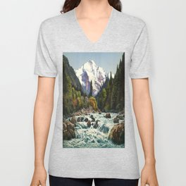 Mountains Forest Rocky River Unisex V-Neck