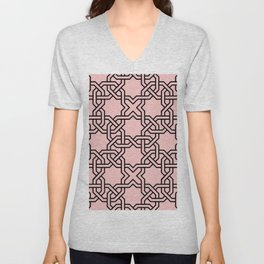 Entwined graphic Lines Home Design - Coral Unisex V-Neck
