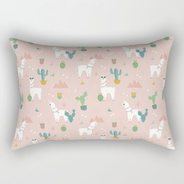 Summer Llamas on Pink Rectangular Pillow
