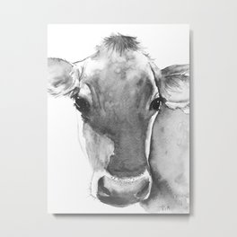 Black and White Cow Painting Metal Print