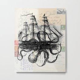 Octopus Kraken Attacking Ship on Old Postcards Metal Print