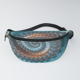 Feathery Flow - Teal and Taupe Fractal Art Fanny Pack