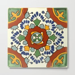Talavera Mexican tile inspired bold design in blue, green, red, orange Metal Print