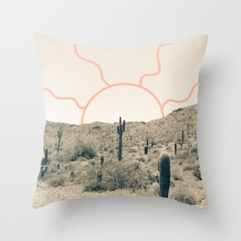 Wonder Rift // Abstract Vintage Mountains Summer Sun Surfer Beach Vibes Drawing Happy Wall Decor Throw Pillow