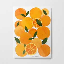 mediterranean oranges still life  Metal Print