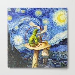 Alice & The Caterpillar Starry Night - Alice In Wonderland Metal Print