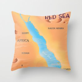 Red Sea Travel map Throw Pillow