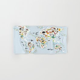 Cartoon animal world map for children and kids, Animals from all over the world, back to school Hand & Bath Towel