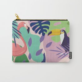 Tropical Jungle With Flamingos And Toucans Memphis Style Carry-All Pouch
