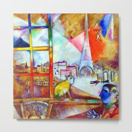 Marc Chagall Paris Through the Window Metal Print