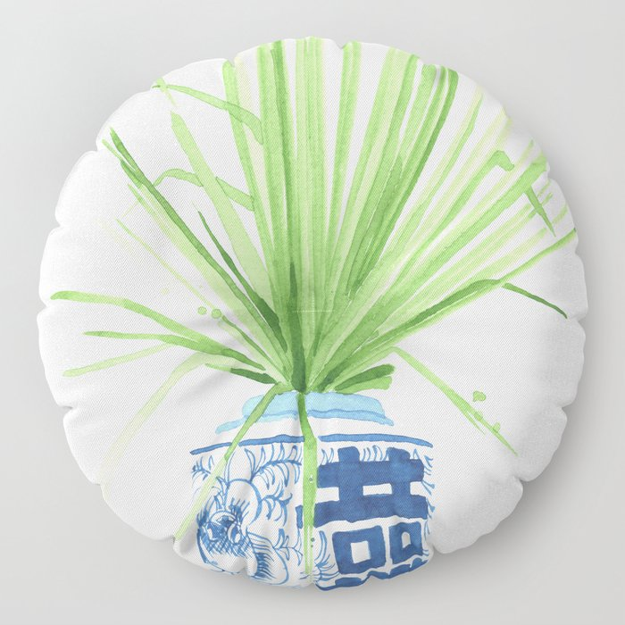 Ginger Jar + Fan Palm Floor Pillow