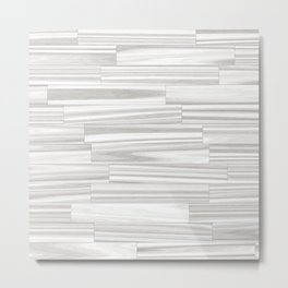 Modern abstract white gray wood grain Metal Print