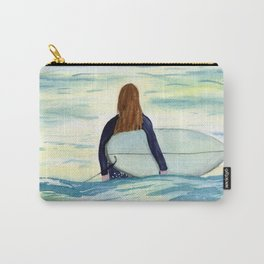Surfer Girl in Sunlight Watercolor Art Carry-All Pouch