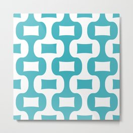 Mid Century Modern Ogee Pattern 131 Turquoise Metal Print