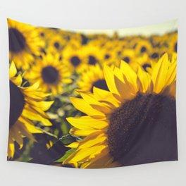 Summer Sunflower Love Wall Tapestry