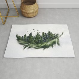 Earth Feather • Green Feather (horizontal) Rug