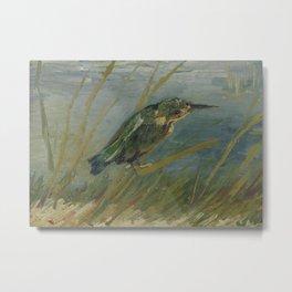 Kingfisher by the Waterside Metal Print