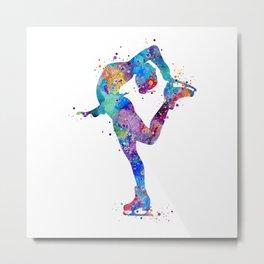 Ice Skating Girl Colorful Watercolor Art Sports Art Gift Metal Print