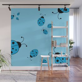 Ladybugs-Blue Wall Mural