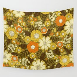 1970s Retro/Vintage Floral Pattern Wall Tapestry