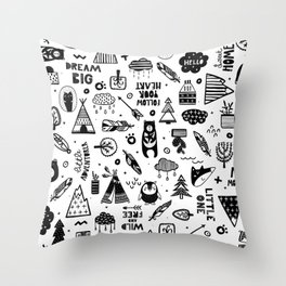 Wild And Free, Scandinavian Kids Throw Pillow