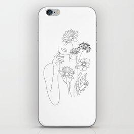 Minimal Line Art Woman with Flowers III iPhone Skin