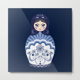 Matryoshka Doll with folk floral ornament of blue color Metal Print