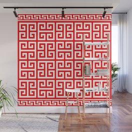 Greek Key (Red & White Pattern) Wall Mural