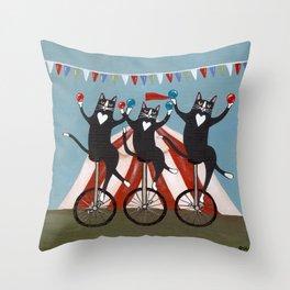 The Circus Cats Throw Pillow