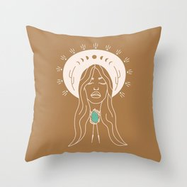 Desert Angel in Camel & Turquoise Throw Pillow